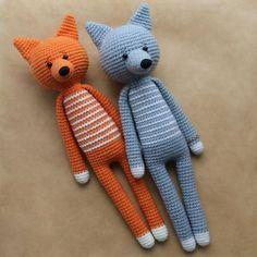 #crochet, Long-legged amigurumi toys - FREE PATTERN, fox, #haken, gratis patroon (Engels), vos, knuffel, speelgoed, #haakpatroon