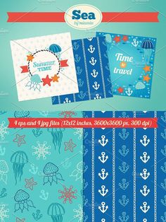 Sea greeting cards and patterns. Patterns