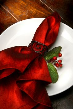 Christmas place setting - love the radiant red against the white...