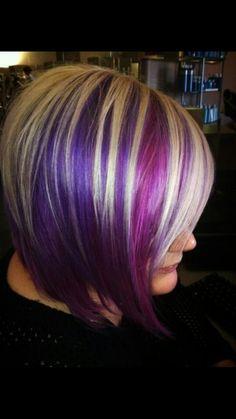 Streaks on the bottom hair в 2019 г. purple hair, hair styles и violet high Violet Highlights, Platinum Blonde Highlights, Hair Highlights, Bright Highlights, Love Hair, Great Hair, Pretty Hairstyles, Bob Hairstyles, Barbers