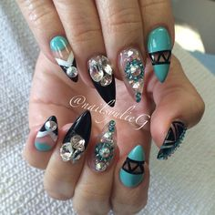 Aqua Black and Bling Almond Stiletto Nails @nailsyulieg