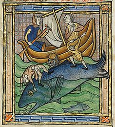 J. Paul Getty Museum, MS. Ludwig XV 3, Folio 89v Fishermen, thinking the whale is an island, have tied their boat to it and built a cooking fire on its back. The whale is diving and taking the boat with it. The whale is also attracting fish to its mouth with the sweet scent of its breath.