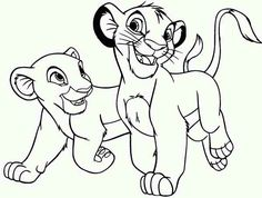 Simba Playing with His Friend The Lion King Coloring Page