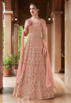 Vipul Fashion Blitz 4500 Colors Designer Heavy Embroidery work Net Fabric Traditional Look Occasionally Fashion Party Wedding Wear Floor Length Anarkali Long Dress Singles Wholesaler - Full Set Price - INR Abaya Style, Indian Gowns, Indian Outfits, Mehendi Outfits, Robe Anarkali, Anarkali Suits, Designer Wear, Designer Dresses, Abaya Mode