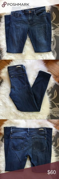 """Anthropologie Pilcro Skinny Jeans size 30 Great medium wash mid-rise skinny ankle jean. I believe this is called the stet. These are size 30 and the waist measures approx. 15.5""""flat, inseam is 28"""". Excellent pre-owned condition. Cotton/polyester/elastane (tag is in photos!). Offers welcome, no trades. Anthropologie Jeans Ankle & Cropped"""