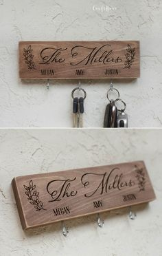 This personalized wooden key hanger fits perfectly into the interior of the hallway. A key rack is a perfect gift for a housewarming and moving. Key Hook Rack, Key Hooks, Key Hangers, Wooden Key Holder, Wall Key Holder, Wood Guest Book, Homemade Art, Key Organizer, Painted Wood Signs