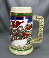 "Budweiser 1998 Christmas Stein, ""GRANT'S FARM HOLIDAY"" PRICE $ 55.99"