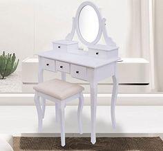 songmics coiffeuse avec tabouret tiroir et miroir pivotant blanc 140 x 80 x 40 cm rdt002. Black Bedroom Furniture Sets. Home Design Ideas