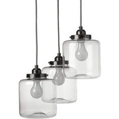 West Elm 3-Jar Glass Chandelier (5.581.335 VND) ❤ liked on Polyvore featuring home, lighting, ceiling lights, grey lamp, west elm light, west elm lamps, cord light and west elm