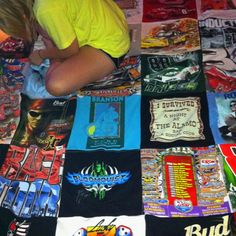 Blanket out of NASCAR and concert shirts