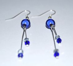 Blue Miracle Bead with Cobalt Bicone Earrings