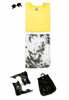 Pam & Gela Short Sleeve Sweatshirt + Tie Dye Grey Skirt + Sigerson Morrison Cloice Sandal + Stela 9 Mini Backpack + Black & Red Mirror Sunnies