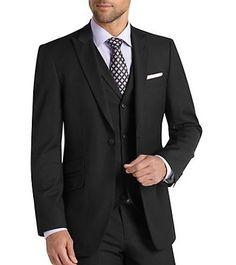 MEN'S BLACK VESTED MULTI-STRIPES SUIT: Men Suits Designer Men Wedding Suits   Suit2Suit.com