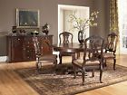 Traditional Cherry Round Pedestal Dining Room Table & Wood Chairs Set - IC10