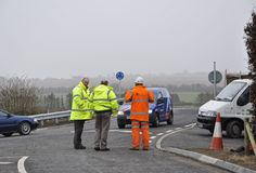Staff from Wiltshire HIghways survey the bridgeworks and new road layout at Broken Cross Bridge at the top of Spire View. The bridge was rebuilt to accommodate larger, higher cargo transport from Southampton Dock Yards. The road was closed from October 2012 to late February 2013 and caused much distress to local residents and businesses.