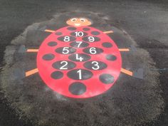 ladybird playground marking installed at paradykes primary school in Edinburgh
