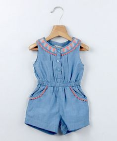 Love this Blue Embroidered Chambray Romper - Infant & Toddler by Beebay on #zulily! #zulilyfinds