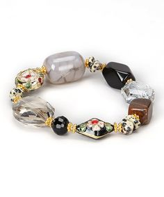 Love this Black Glass & Floral Stone Bead Stretch Bracelet by Embassy Jewels on #zulily! #zulilyfinds