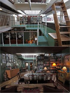 Norman Mailer's apartment in Brooklyn Heights was basically one big library, obviously. Photos via The New York Times.