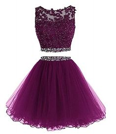 Himoda Women's Two Pieces Short Prom Gowns Beaded Homecom...