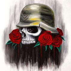 Metal Mulisha Maidens painting by M/M artist Bre. Art. Skull with roses