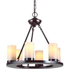 Seagull Lighting - Six Light Chandelier ELLINGTON - 31586BLE-710  MSRP:$742.56, HOME DEPOT $530.40 DIMENSIONS: D: 21'' H: 20''  LAMPING:  6 Fluorescent GU24 Self Ballasted CFL 13w Max.