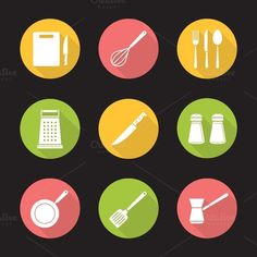 Kitchenware icons. Vector by @Graphicsauthor