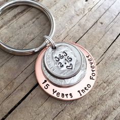 15 year anniversary gift, handstamped coins, 15th anniversary ...
