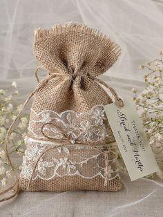 Wedding favors rustic burlap favor bags and tags Wedding Bag, Diy Wedding, Wedding Gifts, Wedding Ideas, Rustic Wedding Favors, Wedding Decorations, Burlap Favor Bags, Burlap Crafts, Lace Weddings