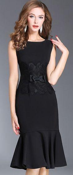 Chic O-Neck Sleeveless Lace Stitching Bodycon Dress