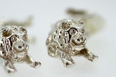 Currently at the #Catawiki auctions: Sterling Silver Lion Cufflinks, Made in London 1997