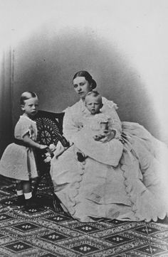 Victoria, Crown Princess of Prussia, with her sons, Prince Henry and Prince Sigismund [1865] [in Portraits of Royal Children Vol.9 1865] | Royal Collection Trust