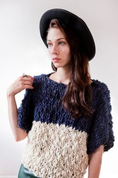 caesarpony:    Beautiful new designs from the lovely Tara-Lynn  goodnightday:    good night, day fall/winter 2012/13  welland hand knit sweater: good night, day merino wool, (color blocked midnight/natural) photo: lauren glegg model: kate campbell