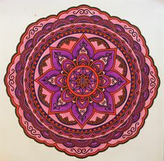 """Mandala from Coloring Books for Adults, """"Mandalas"""". Colored by B. Holmes using Kuritake Zig Clean Color brushes, 8-2017. #mandalas #kuritake #zig"""