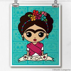"""frida kahlo paintings Set the tone of your room from the walls out--""""from the ground up"""" is so dated. Mix and match your favorite art prints on a gallery wall showcasing everythin Flower Studio, Flower Art, Frida Kahlo Cartoon, Kahlo Paintings, Frida Art, Painted Flower Pots, Mexican Art, Handmade Shop, Cartoon Art"""