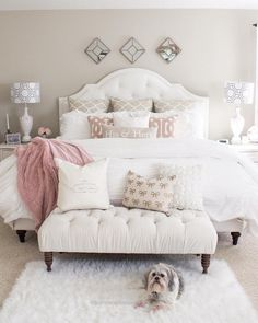 Magnificent master bedroom, elegant, modern, bench, foot board, pink and white, bedroom, tan, neutral, farmhouse, rustic , diy Decor, do it yourself, puppy, white rug, pillows, ..