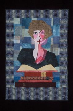 """""""Woman with Books"""" art quilt by Linda McCurry. Inspired by """"Woman with Jugs""""by Paul Klee. Sheers, hand-dyes and commercial cottons."""