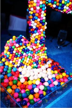 Music notes covered in gumballs are perfect centerpieces.