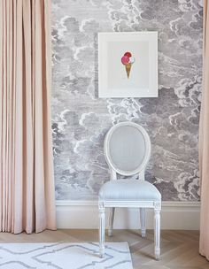"""I love using Cole & Son's Nuvolette pattern,"" says designer Nam Dang-Mitchell of the statement-making wallpaper. ""It adds such a sophisticated whimsy—perfect for the young lady who sleeps here. Playroom Wallpaper, Framed Wallpaper, Bedroom Wallpaper, Grey Wallpaper, Sophisticated Bedroom, Look Magazine, Georgian Homes, Cole And Son, Home Look"