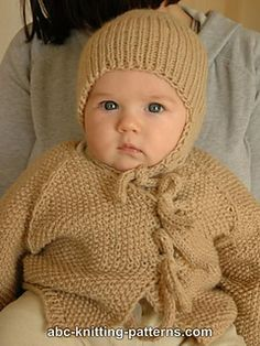 Easy Seamless Baby Cardigan with I-Cord Ties pattern by Elaine Phillips  free knit patterns