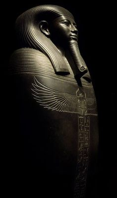 """Sarcophagus of the Vizier Gemenefherbak, of the """"ASSYRIAN PROXY"""" Sais dynasty BCE), expertly sculpted (IN A ROYAL WORKSHOP) in basalt. On the chest a great winged scarab is engraved, a symbol of rebirth and regeneration. Ancient Egyptian Architecture, Ancient Egyptian Artifacts, Ancient Egypt Art, Old Egypt, Ancient Aliens, Ancient History, Egypt Mummy, Egyptian Mythology, Ancient Civilizations"""