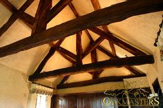 King post trusses and open vaulted ceilings - Oakmasters Ceiling Beams, Vaulted Ceilings, British Architecture, Roof Structure, Wood Beams, Wood Projects, Garden Design, Stairs, Layout