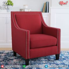 Sofa Minimalis Single Seater New Desain Inspiring Furniture Jepara BT-0731 Red Accent Chair, Accent Chairs, Arm Chairs, Rotterdam, Custom Furniture, Furniture Design, Most Comfortable Office Chair, Transitional House, Occasional Chairs