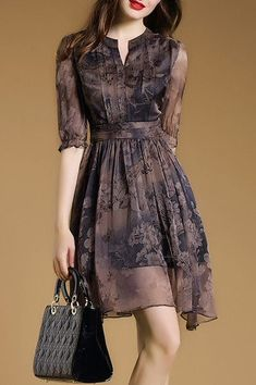Printed Flared Asymmetric Neckline Skater Dress