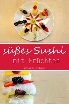 Frucht Sushi mit Milchreis ist ein leckeres und gesundes Dessert. Natürlich ist die Nachspeise zuckerfrei. Die Früchte sind ja süß genug. Das süße Sushi selber machen schafft man auch ohne Erfahrung im Sushi machen. Guten Appetit. #Dessert #gesund