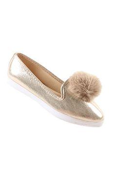 b4b1084e266e52 Hadari Womens Casual Fashion Slip OnGold Pom Pom Flat Shoes    Be sure to  check