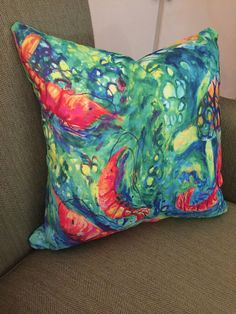 Shrimp Pillow Sea Creature Pillow Nautical Pillow Shrimp by coastal artist Alexandra Nicole Newton