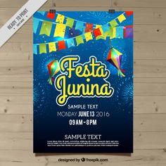 celebração Festa junina poster Vetor grátis