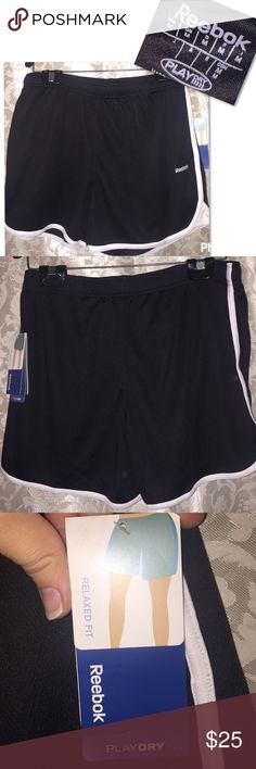 Reebok shorts relaxed fit Reebok shorts relaxed fit athletic shorts NWT size medium black white stripe down side play dry Reebok Shorts