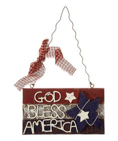 This Patriotic 'God Bless America' Wall Plaque is perfect! #zulilyfinds for the front door